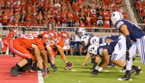 September 15, 2012; Salt Lake City, UT, USA; Utah Utes start a drive on their one yard line during the first half against the Brigham Young Cougars at Rice-Eccles Stadium. Mandatory Credit: Russ Isabella-USA TODAY Sports