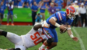 Sep 26, 2015; Gainesville, FL, USA; Tennessee Volunteers defensive lineman Corey Vereen (50) tackles  Florida Gators quarterback Will Grier (7) during the second half at Ben Hill Griffin Stadium. Florida Gators defeated the Tennessee Volunteers 28-27. Mandatory Credit: Kim Klement-USA TODAY Sports