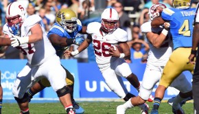 28 November 2014: Stanford (26) Barry Sanders during an NCAA football game between the Stanford Cardinal and the UCLA Bruins at the Rose Bowl in Pasadena, CA.