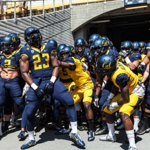 April 18, 2015: The Golden Bears get pumped up before taking the field for the Cal Spring Game at California Memorial Stadium in Berkeley, Ca.